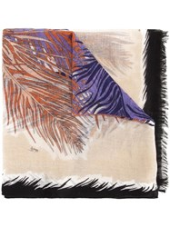 Emilio Pucci Feather Print Scarf Brown