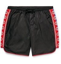 Gucci Slim Fit Mid Length Logo Webbing Trimmed Swim Shorts Black