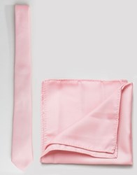 Asos Tie And Pocket Square Pack In Pale Pink Pink