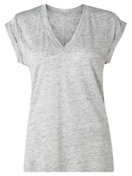 Jigsaw Linen V Neck Top Light Grey Melange