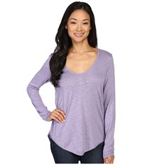 Lilla P Pima Modal Slub Long Sleeve V Neck Wisteria Women's Clothing Purple