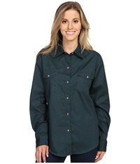 Roper L S Solid Basic Snap Front Green Women's Long Sleeve Button Up