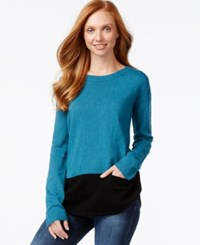 G.H. Bass And Co. Long Sleeve Colorblocked Sweater Turquoise Combo