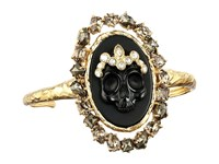 Alexis Bittar Black Agate Cameo Cuff W Crystal Studded Crown Pyrite Accent Bracelet Black Dark Gold Bracelet