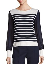 Alberta Ferretti Long Sleeve Striped Blouse Multicolor