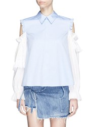 Sandy Liang 'Flipper' Tiered Ruffle Sleeve Cold Shoulder Shirt Blue