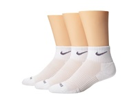 Nike Dri Fit Cushion Quarter 3 Pack White Flint Grey Quarter Length Socks Shoes