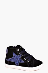 Boohoo Glitter Star High Top Trainer Navy
