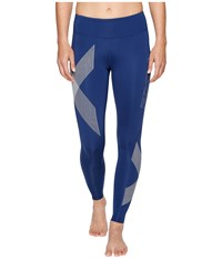 2Xu Mid Rise Compression Tights Dark Colony Blue Striped White Women's Workout