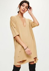 Missguided Camel Choker Neck Plunge T Shirt Dress