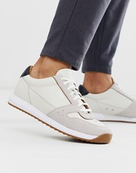 Boss Sonic Leather Suede Mix Trainer In White