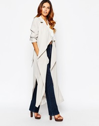 Warehouse Longline Belted Trench Coat Grey