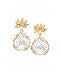 Lotus Flower White Topaz And Diamond Earrings Jamie Wolf