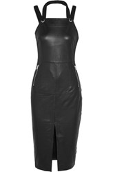Rebecca Vallance Leather Midi Dress Black