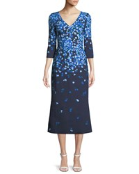 Carolina Herrera Floral Short Sleeve Stretch Dress Blue Pattern