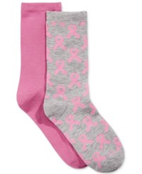 Charter Club Women's 2 Pk. Pink Ribbon Socks Only At Macy's Light Heather Gray