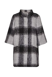 Great Plains Lowery Check Bell Sleeves Swing Coat Grey