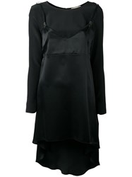 Murmur Long Slip Overlay Blouse Black