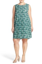 Plus Size Women's Halogen Sleeveless Shift Dress Teal Green Print