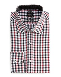 English Laundry Check Print Woven Dress Shirt Blk Red
