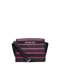 Michael Kors Selma Stripe Saffiano Leather Mini Messenger Black Deep Pink
