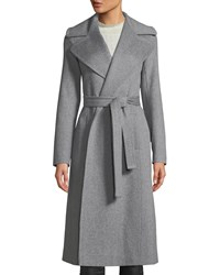 Fleurette Maxi Wrap Wool Coat Gray
