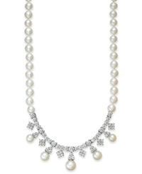 Arabella Bridal Cultured Freshwater Pearl 6Mm And Swarovski Zirconia 8 3 4 Ct. T.W. Necklace In Sterling Silver White