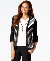 Alfred Dunner Petite Colorblock Sequined Layered Look Cardigan Top Black