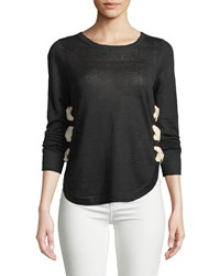 Lisa Todd Explorer Lace Up Linen Sweater Black
