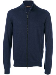 Loro Piana Elbow Patch Zipped Jumper Leather Cashmere Blue