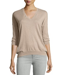 Minnie Rose Long Sleeve Cotton V Neck Everyday Top Taupe Heat