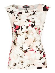 Episode Sleeveless Floral Jersey Top With Gold Hardwear Multi Coloured Multi Coloured