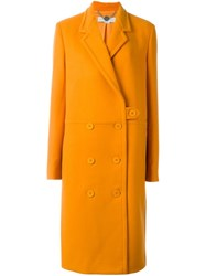 Stella Mccartney Double Breasted Button Up Coat Yellow And Orange
