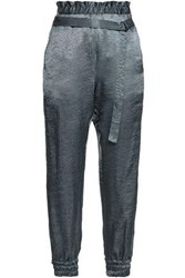 Ann Demeulemeester Woman Crushed Satin Track Pants Grey Green