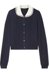 Miu Miu Embellished Tulle Trimmed Cashmere And Silk Blend Cardigan Midnight Blue