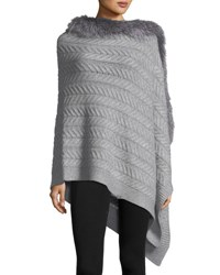 Sofia Cashmere Staghorn Chunky Knit Wrap W Fur Trim Light Gray