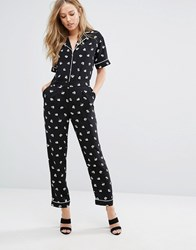 Warehouse Dandy Print Mono Jumpsuit Black