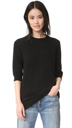 Vince Raw Edge Elbow Sleeve Sweater Black