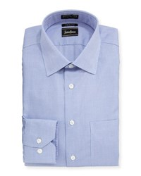 Neiman Marcus Trim Fit Non Iron Check Print Oxford Shirt Blue