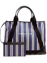 Balenciaga Navy Cabas M Cotton Canvas Tote Bag Navy Stripe