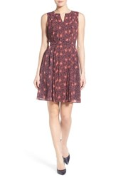 Halogenr Petite Women's Halogen Pleated Fit And Flare Dress Navy Coral Geo Floral