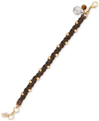 Lucky Brand Two Tone Braided Leather Charm Bracelet Multi