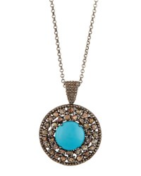 Bavna Round Turquoise And Polki Diamond Pendant Necklace