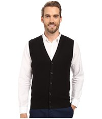 Perry Ellis Solid Sweater Vest Black Men's Vest