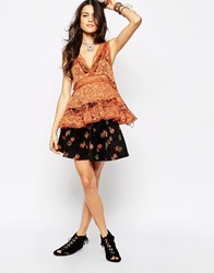 Free People Super Stretch Cord Floral Print Skater Skirt Ravencombo