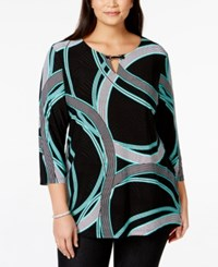 Jm Collection Woman Jm Collection Plus Size Three Quarter Sleeve Printed Keyhole Tunic Only At Macy's