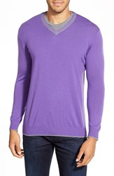 Men's Bugatchi Contrast Trim V Neck Sweater Orchid