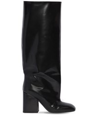 Marni 90Mm Tall Brushed Leather Boots Black