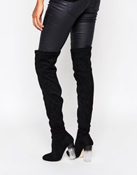 Truffle Collection Over The Knee Boot With Clear Heel Black Micro