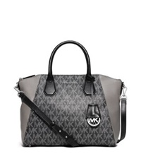 Michael Kors Campbell Large Logo And Leather Satchel Grey
